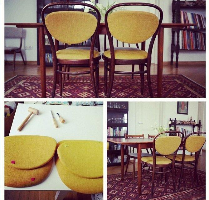 Paire de chaise style bistro recouvertes d'un tissu moutarde de créateur