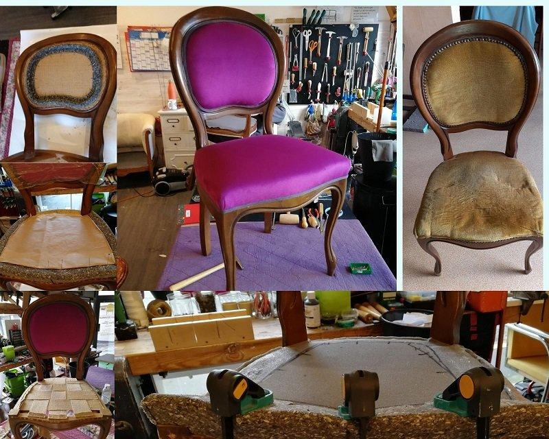 Chaise style Louis Philippe restaurée en garniture mousse contemporaine avec un tissu rose de Chivasso