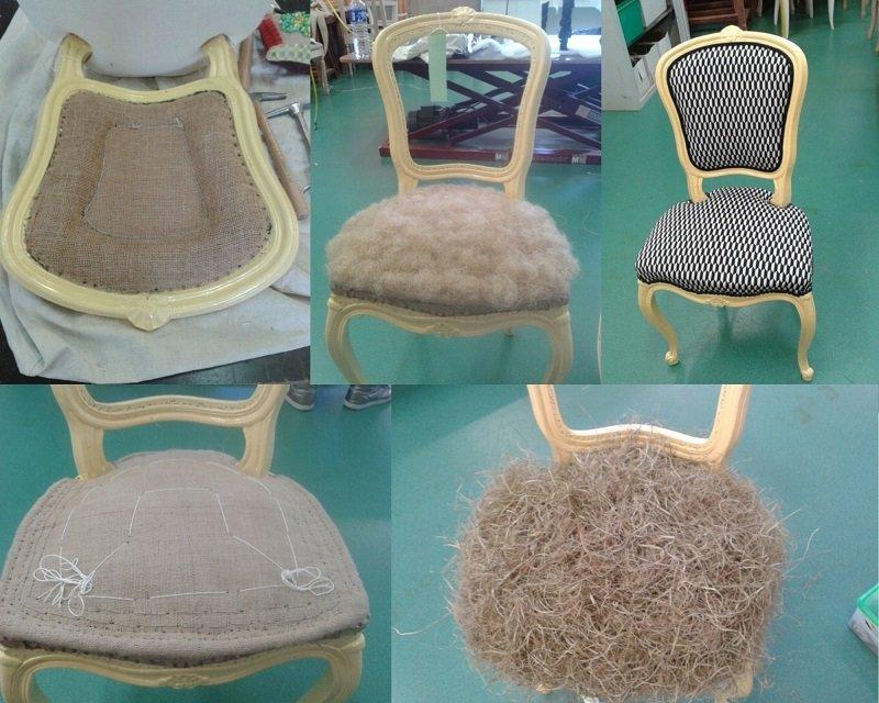 Chaise style Louis XV repeinte et restaurée en garniture traditionnelle et recouverte d'un tissu noir et blanc de Mondial Tissu