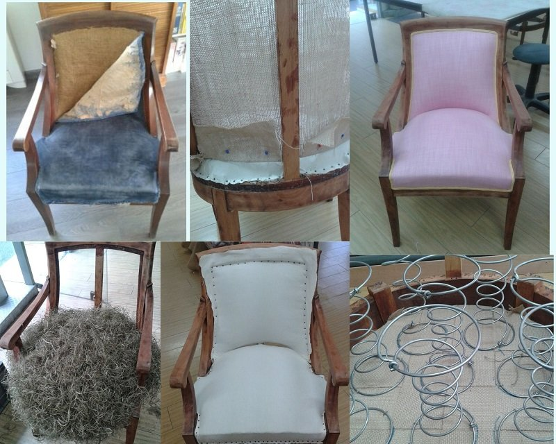 restauration fauteuil Empire en traditionnel avec tissu Designers Guild