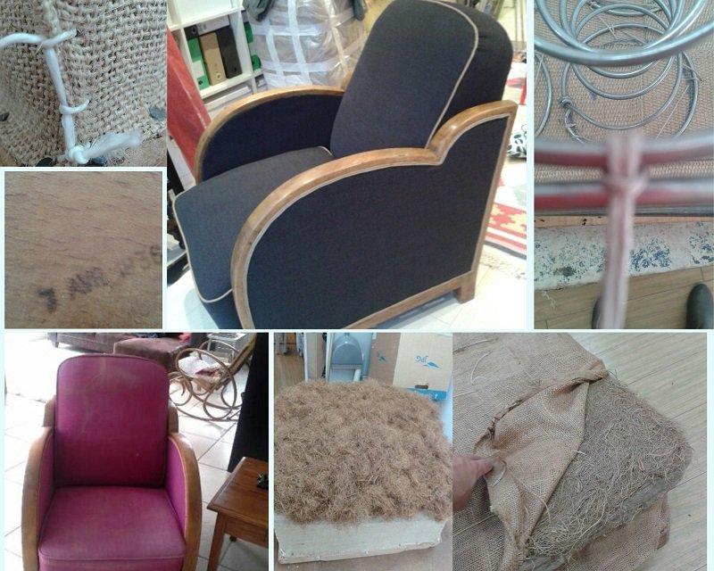 Fauteuil Studio restauré en garniture traditionnelle avec un tissu en laine noir d'un créateur
