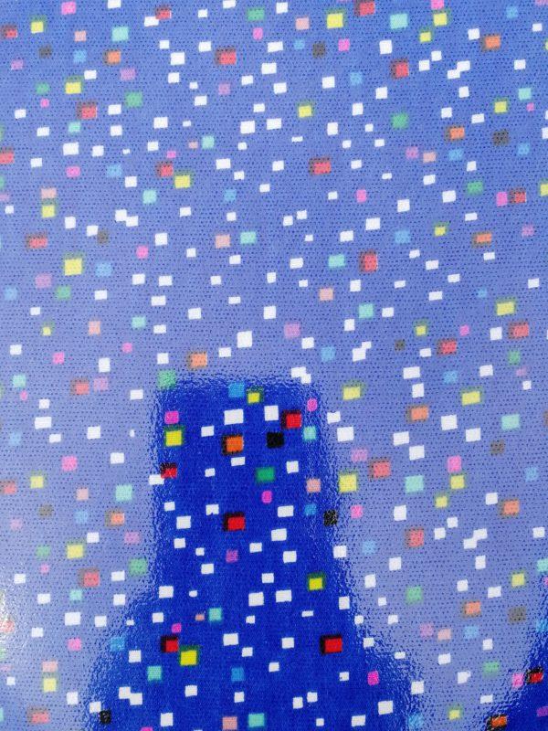 Tissu enduit paillettes bleues et multicolore