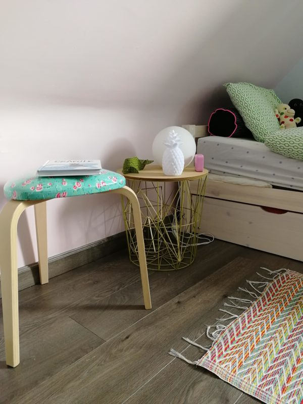 Tabouret tripode fleurs turquoise chambre