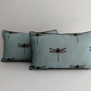 housse coussin libellule bleu